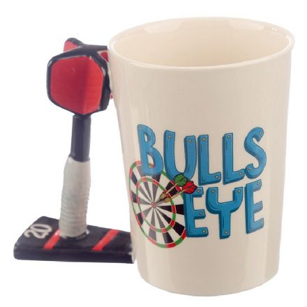 Darts Bulls Eye Shaped Handle Mug
